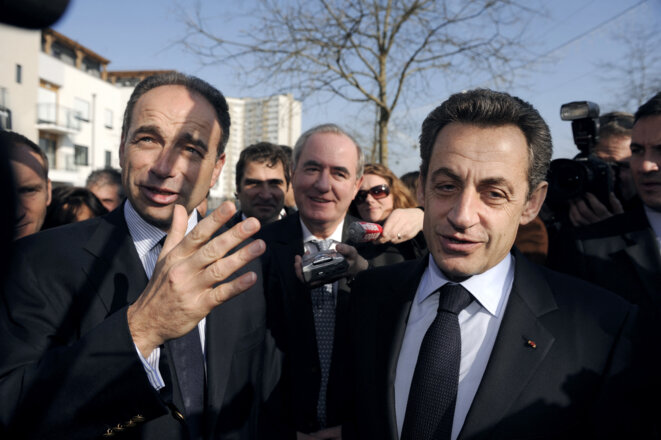Jean-François Copé et Nicolas Sarkozy en campagne à Meaux, en mars 2012. © Eric Feferberg/Pool/AFP