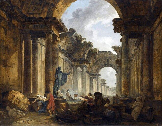 Vue imaginaire de la Grande Galerie du Louvre en ruines (1796). © Hubert Robert