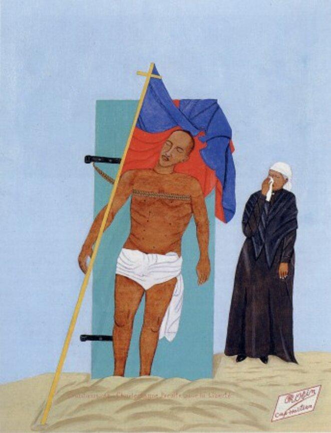 Philomé Obin,  La crucifixion de Charlemagne Péralte pour la liberté,  huile sur isorel, 49 x 39 cm, 1970 © P. Obin