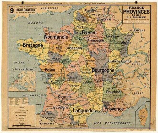 Provinces françaises avant leur abolition, en 1789