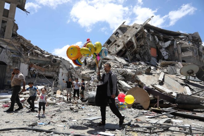 Décombres dans Gaza © Ashraf Amra / Anadolu Agency via AFP