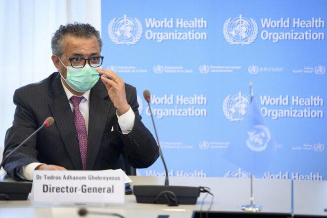 Le directeur général de l'OMS Tedros Adhanom Ghebreyesus lundi 24 mai 2021 à Genève. © Laurent Gillieron/Pool/AFP