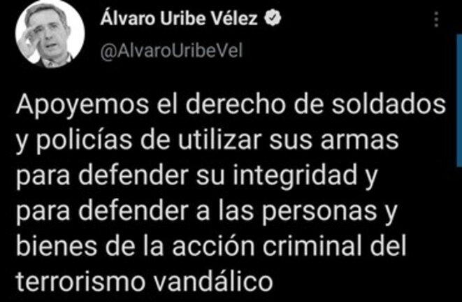 Tweet d'Alvaro Uribe en date du 30 avril.