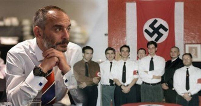 Alexis López Tapia (troisième de gauche à droite) a participé dans sa jeunesse à une série de réunions couronnées de la croix gammée nazie