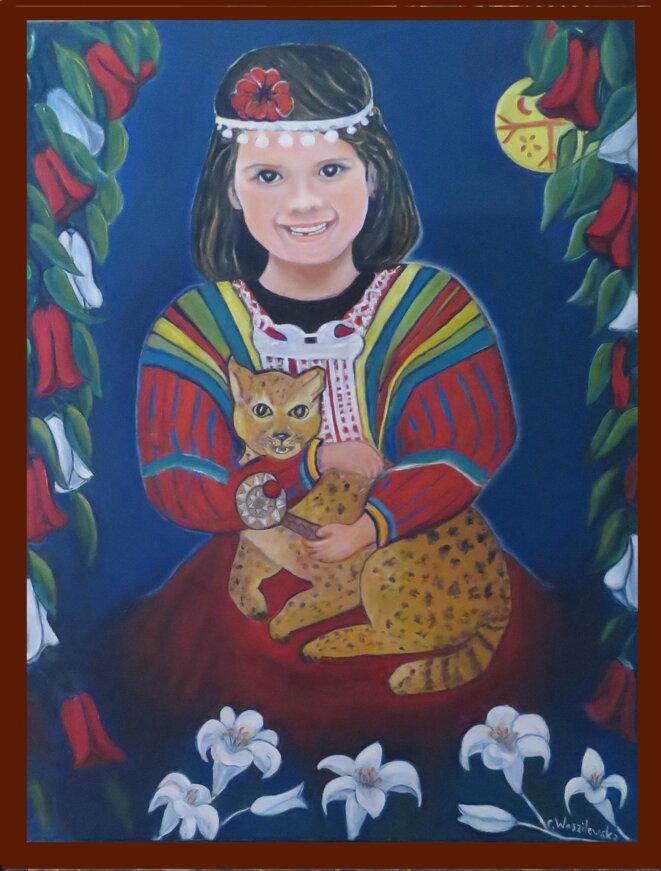 """""""La Demoiselle à l'Huiña"""", huile sur toile, 80x60cm, février 2021 © Ch. Waszilewska"""