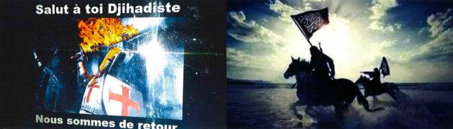 Photomontage d'images issues des propagandes d'ultradroite (à gauche) et djihadiste (à droite). © Document Mediapart