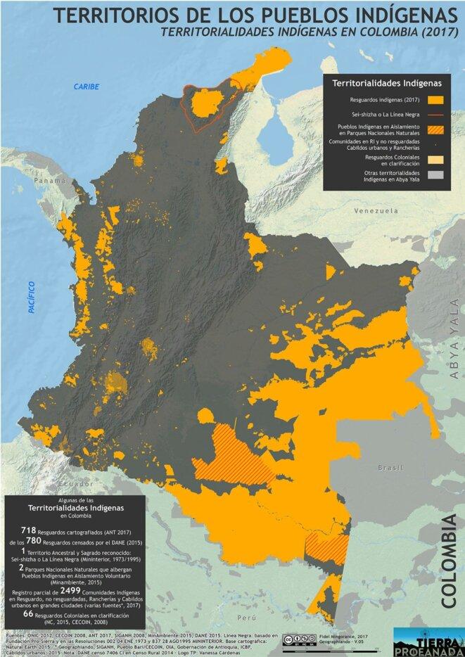 Carte des territoires indigènes en Colombie.