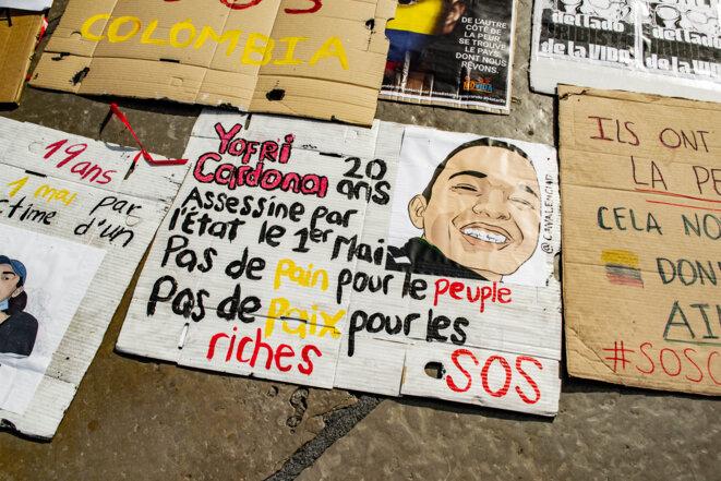 Rassemblement de soutien à la Colombie et à la Palestine, Montpellier, le 29 mai 2021. © Samuel Clauzier