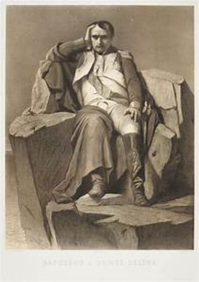 Napoléon à Sainte-Hélène, gravure d'après le tableau de Paul Delaroche
