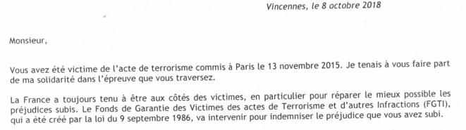 Courrier du fonds de garantie des victimes des actes de terrorisme envoyé à Karim en 2018. © Mediapart