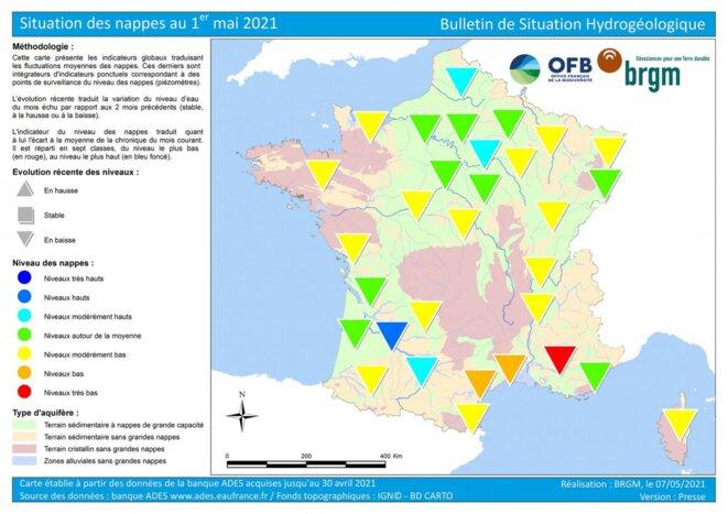 Carte de France de la situation des nappes au 1er mai 2021. © BRGM