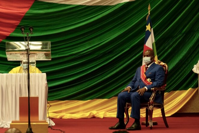 Le président de la RCA lors de sa prise de fonction le 30 mars 2021. © Camille Laffont/AFP