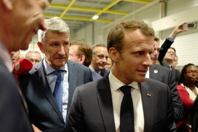 Philippe de Villiers et Emmanuel Macron aux Herbiers (Vendée) en 2018. © Ludovic MARIN / AFP