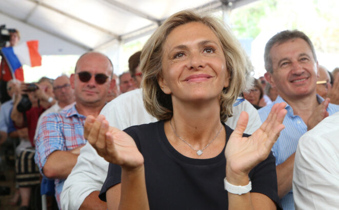 La présidente de région Valérie Pécresse au meeting de Brive, le 31 août 2019. © Diarmid COURREGES / AFP