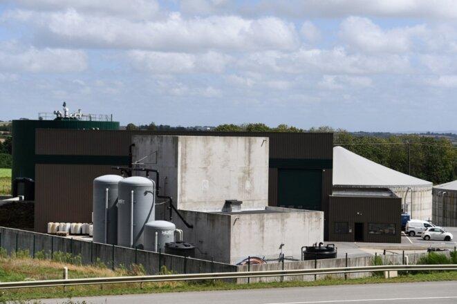 La centrale biogaz de Kastellin, une unité de production de biométhane située à Châteaulin, dans le Finistère. © Fred Tanneau / AFP