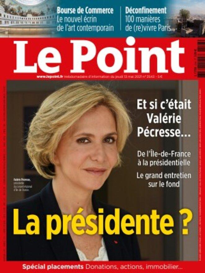 """Valérie Pécresse en une du """"Point"""", le 13 mai 2021."""