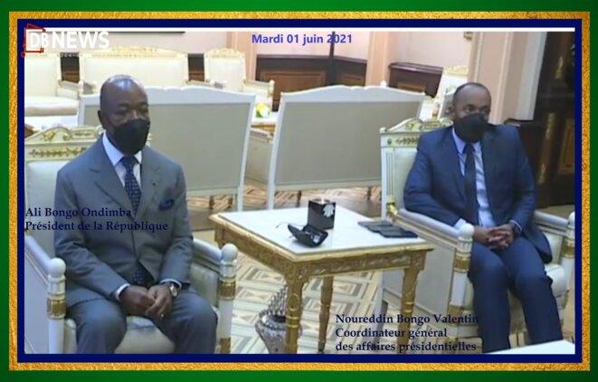 1 juin 2021 – Ali Bongo Ondimba et son fils, Noureddin Bongo Valentin