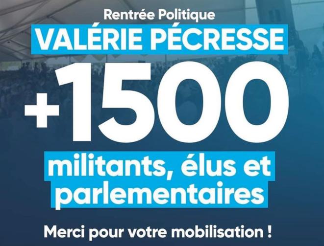 Visuel diffusé par les équipes de Valérie Pécresse après le meeting. © Libres !