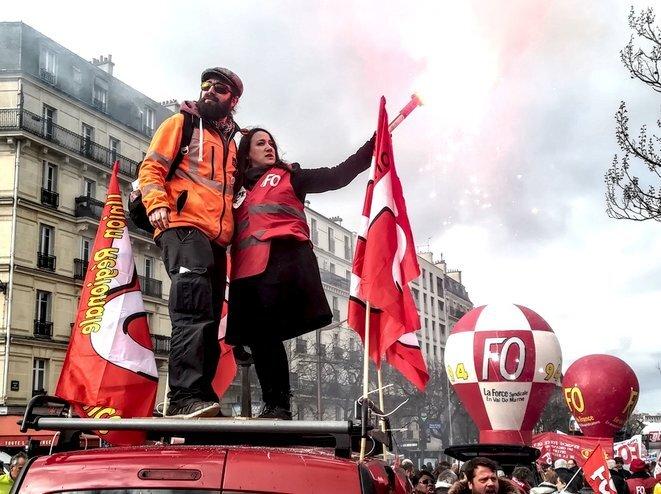 Dans le cortège de l'une des manifestations contre la réforme des retraites, Paris, 29 janvier 2020 © D.I. / Mediapart