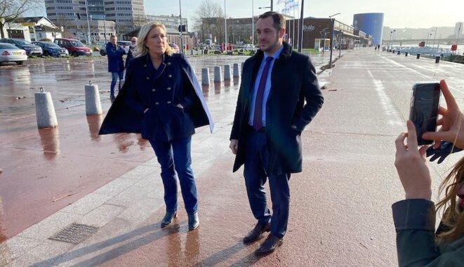 Marine Le Pen et Nicolas Bay à Rouen, en février 2020, lors de la campagne des municipales. © MS (Le Poulpe)