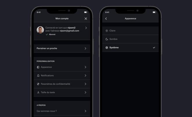 Dans l'écran Mes réglages l'utilisateur peut choisir entre le mode clair et le mode sombre.