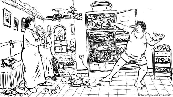 dessin de Mohamed Wahba pour le projet de film de Mohamed Samir © Mohamed Wahba