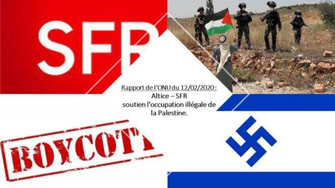 Altice SFR fait partie de la liste des sociétés soutenant l'occupation illégale des territoires Palestiniens © RISSALA