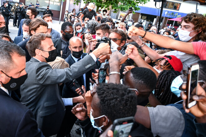 Emmanuel Macron lors de son déplacement à Valence (Drôme), mardi 8 juin 2020. © PHILIPPE DESMAZES / POOL / AFP