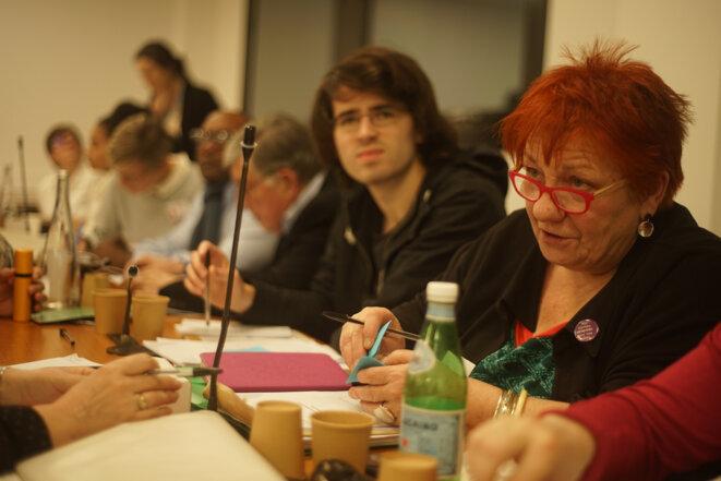Yolande Bouin, pendant une session de la Convention citoyenne à Paris, en janvier 2020. © AmP / Mediapart