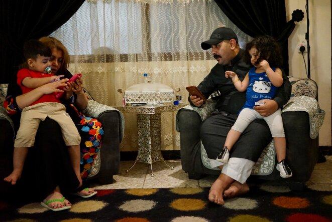 Raya, Muhayed et leurs enfants (Bagdad,avril 2021). © Rachida El Azzouzi