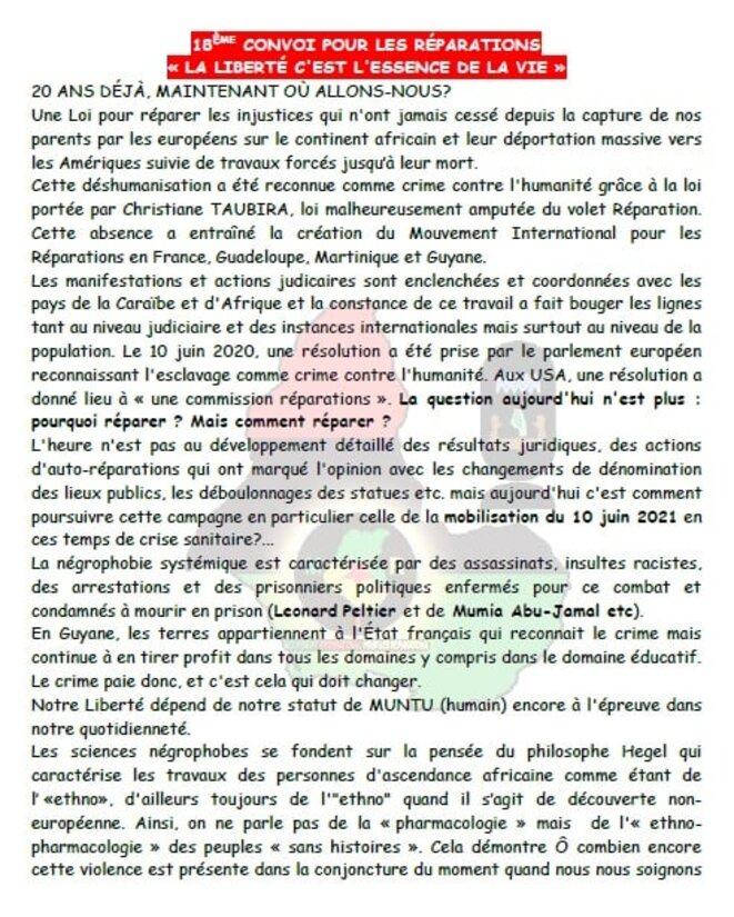 MIR GUYANE. Programme de la Commémoration de la Révolution Anti-esclavagiste du 10 juin.