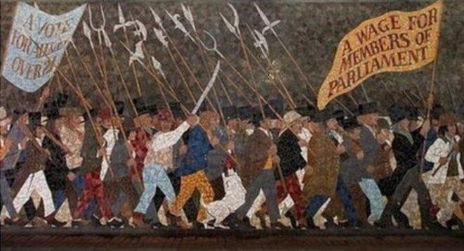 Mosaïque murale du soulèvement chartiste de 1839. Oeuvre de Kenneth Budd, Newport, pays de Galles, 1978. © Kenneth Budd