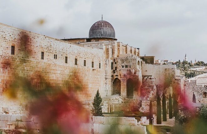 « Behind blooming flowers, Al-Aqsa mosque shines. » (Derrière les fleurs, la mosquée Al-Aqsa scintille), 2018. © Cole Keister