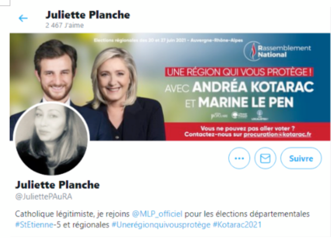 Capture d'écran du compte supprimé de Juliette Planche © LD