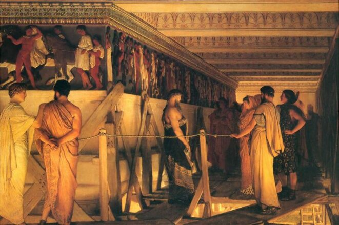 Phidias présentant la frise du Parthénon à ses amis. Tableau de Lawrence Alma-Tadema. Le Cercle travaille aussi sur la culture européenne