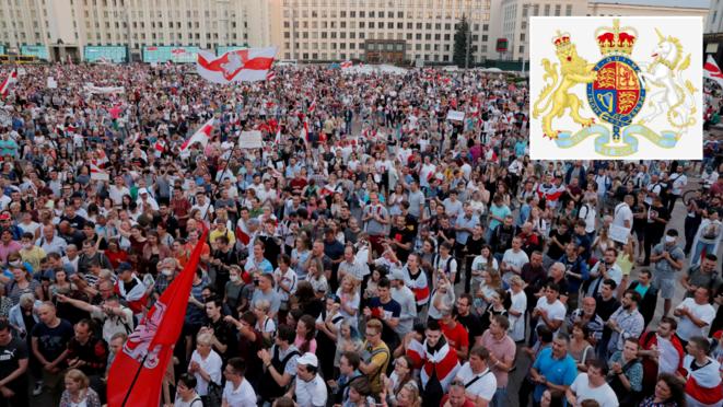 Manifestation de protestation contre les résultats de l'élection présidentielle, sur la place de l'Indépendance à Minsk, au Bélarus. Reuters / Vasily Fedosenko ; (médaillon) Armoiries royales du Royaume-Uni de Grande-Bretagne et d'Irlande du Nord. Wikipédia