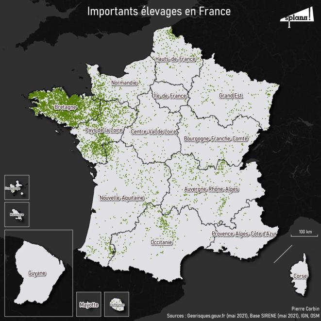 Importants élevages en France © Splann