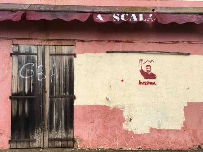A tag in Cargèse in memory of Massimu Susini, shot dead in 2019. © HC