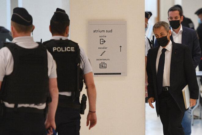 Nicolas Sarkozy au tribunal de Paris le 15 juin. © Christophe Archambault/AFP
