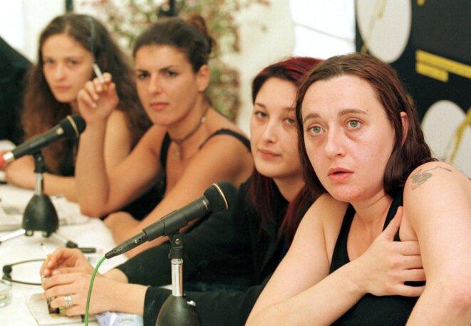 Virginie Despentes, Coralie Trinh Thi, Raffaëla Anderson et Karen Bach. © Alessandro Della Valle / Keystone via AFP
