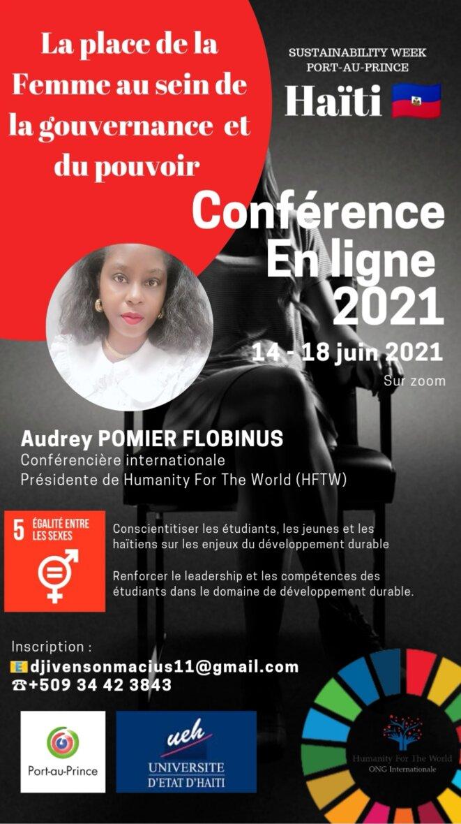 Sustainability Week Port-au-Prince : La semaine du développement durable en Haïti - 14-18 juin 2021- ODD5: Egalité des sexes : Le pouvoir le la Femme au sein de la Gouvernance et du Pouvoir © Sustainability Week Port-au-Prince