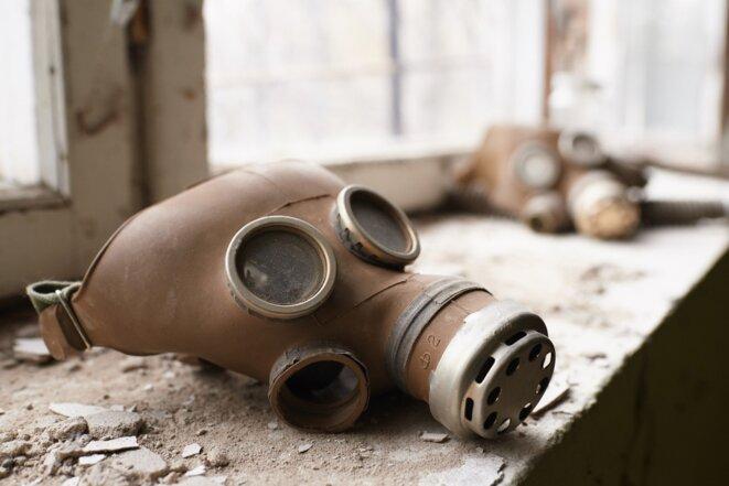 Un masque de protection abandonné sur le site de la centrale de Tchernobyl © Vitaliy Holovin / Corbis