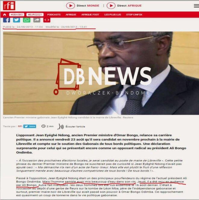 RFI – jeudi 22 aout 2013 – Rencontre à la présidence de la république – Ali Bongo & Jean Eyeghe Ndong