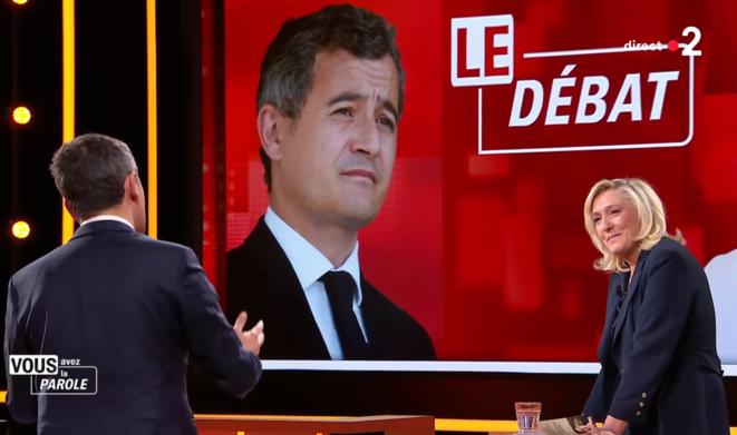 Débat entre Marine Le Pen et Gérald Darmanin, le 11 février. © Capture d'écran France 2