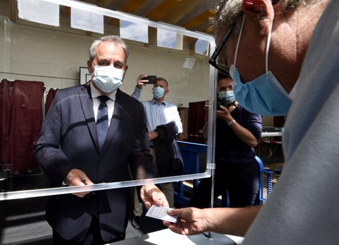 Xavier Bertrand à Saint-Quentin (Aisne), lors du premier tour des élections régionales. © François Lo Presti / AFP