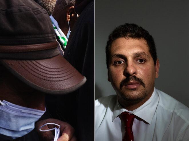 A gauche, une manifestation à Alger en 2021. A droite, portrait d'Amirouche Bakouri, avocat et militant des droits de l'homme. © Abdo Shanan