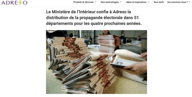 © capture d'écran du site d'Adrexo