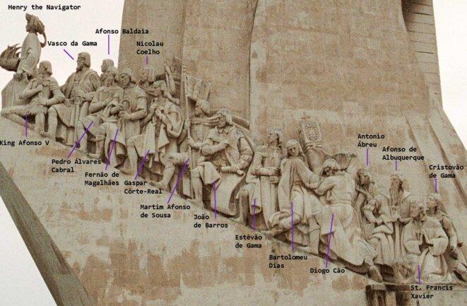 Façade Est, avec légendes, du Padrão dos Descobrimentos (Lisbonne) © Walrasiad (Wikipédia)