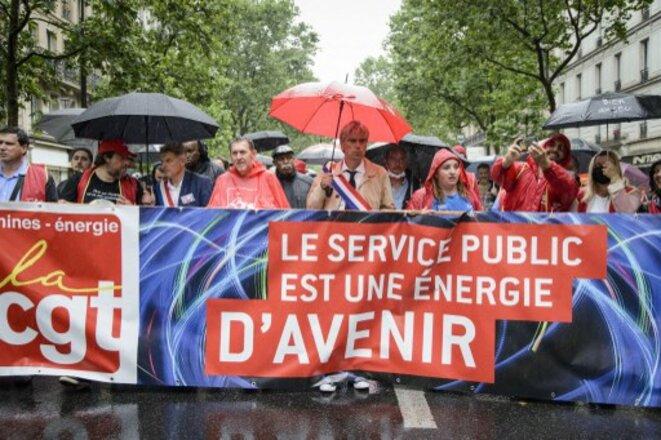 Manifestation en défense d'EDF le 22 juin à Paris. © Jacopo Landi / Hans Lucas via AFP