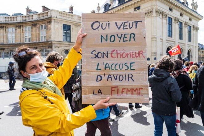 Pendant une manifestation à Paris, le 22 mai. © Amaury Cornu / Hans Lucas via AFP